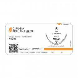 Acero Calibre 5 Forma 1/2 Para Uso Cardiovascular